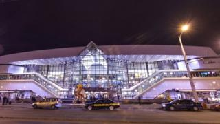A night view of the exterior of Minsk central station