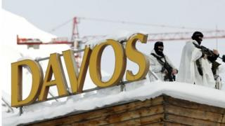 Armed police next to Davos logo