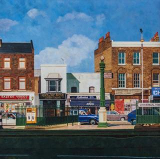 A painting of a street of shops in London by Doreen Fletcher