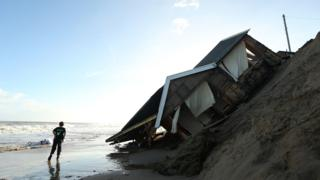 House swept into the sea