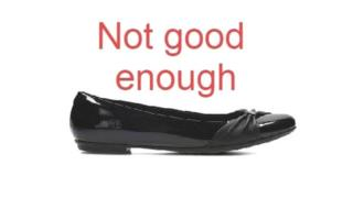 A shoe with the words 'not good enough' written above it