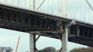 Engineers examine the Forth Road Bridge