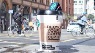 The coffee cup recycling bins