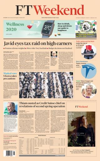 Saturday's FT Weekend front page