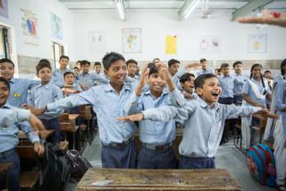 A class of 59 students of a Government Senior Secondary School attend a Happiness Class which includes a mix of yoga, music, moral science etc as a part of newly launched program by the Delhi Government to emphasise on mental health and well being in New Delhi, India on July 13, 2018