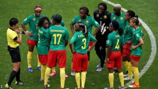 Cameroon protest after Ellen White's goal was awarded by the video assistant referee