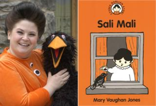 Actress Rebecca Harries dressed as Sali Mali with a black bird puppet, and the orange book cover of the character with a black bird on the window sill