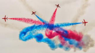 A photo of the Red Arrows at RAF Lossiemouth's Friends and Family day. Taken by Ian Camer