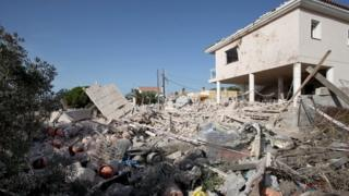 Debris after the explosion at a house in Alcanar, Catalonia