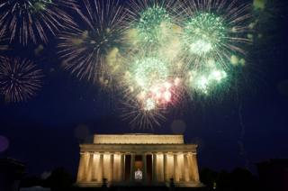 Fireworks are seen over the Lincoln Memorial