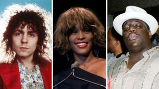 T. Rex's Marc Bolan, Whitney Houston and The Notorious B.I.G.