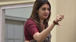 Congress spokesperson Priyanka Chaturvedi seen during a press conference on smart city project, at AICC on March 27, 2019 in New Delhi, India. (Photo by Sonu Mehta/Hindustan Times via Getty Images)
