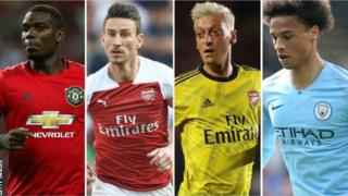 Paul Pogba, Laurent Koscielny, Mesut Ozil and Leroy Sane