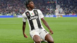 L'attaquant de la Juventus, Moise Kean, lors du match contre l'AC Milan, samedi 6 avril 2019