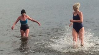 Jenny Latto (L) and Anna Neubert-Wood at Portobello beach in Edinburgh
