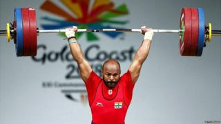 Sathish Kumar Sivalingam of India competes during the Men's 77kg Weightlifting Final on day three of the Gold Coast 2018 Commonwealth Games