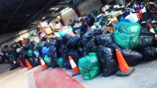 Bags of clothes collected after the Great North Run