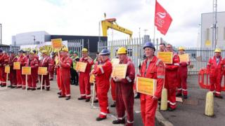 workers at Harland and Wolff have walked out this afternoon as the company faces going into administration.