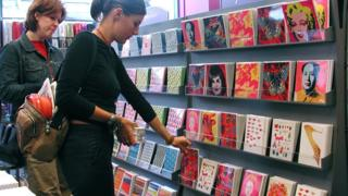 Choosing cards at Paperchase