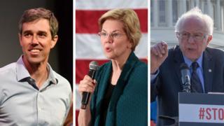 Beto O'Rourke, Elizabeth Warren and Bernie Sanders
