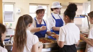 Children being served a school meal