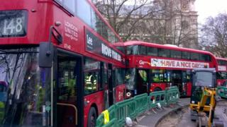 Buses in Parliament Square