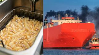 Chip pan next to smoky cargo ship