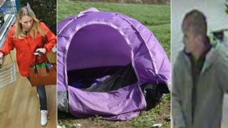CCTV pictures and the tent