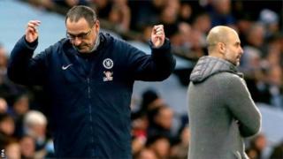 Manchester City y'umutoza Pep Guardiola imaze gutsinda ibitego 14 mu mikino itanu yayihuje n'amakipe atozwa na Maurizio Sarri - Napoli mu mwaka w'imikio wa 2017 - 2018, Chelsea mu wa 2018 - 2019