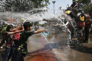 Thai revellers throw water with elephants.