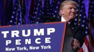 Donald Trump durante seu comício em Nova York