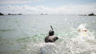 Ben Lecomte begins his swim in Choshi, Chiba prefecture, Japan, 5 June