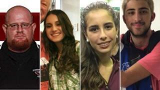 Left to right: Aaron Feis, Alyssa Alhadeff, Gina Montalto, Joaquin Oliver