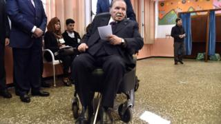 Algerian President Abdelaziz Bouteflika is seen while voting at a polling station April 2017