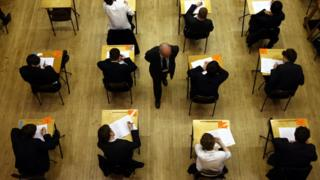 Students taking A Level examinations.
