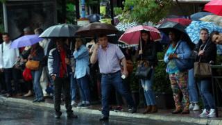 Queue at bus stop in Athens (17 May)