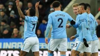 'Yan wasan Manchester City na murna bayan da Raheem Sterling ya ci musu kwallo