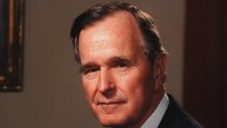A portrait of American politician George Herbert Walker Bush, the 41st President of the United States, in the Oval Office, Washington, D.C., 1991.