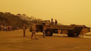 Army vehicle in Mallacoota helps evacuate people