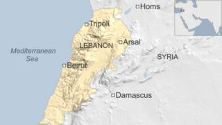 Map of Lebanon showing location of Arsal