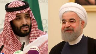Saudi Crown Prince Mohammed bin Salman (L) and Iranian President Hassan Rouhani