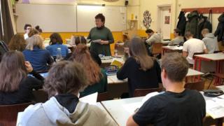 Pupils in class at Politechnikum Alternative Secondary School, Budapest