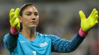 Goalkeeper Hope Solo of USA gestures during the women's first round group G match between USA and New Zealand of the Rio 2016 Olympic Games Soccer tournament at the Mineirao stadium in Belo Horizonte, Brazil, 3 August 2016