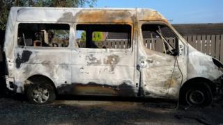 Van burned out