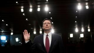 James Comey pictured on June 8th swearing an oath before Senate committee on Russia investigation