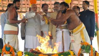Indian Prime Minister Narendra Modi (2nd L) performs a pooja ritual at the foundation stone laying ceremony in Amaravati, the new capital of Andhra Pradesh.