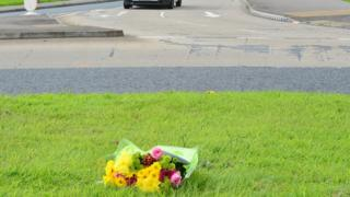 Flowers have been left at the scene of the crash in Newtownards