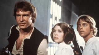 "Harrison Ford, Carrie Fisher y Mark Hamill en ""La guerra de las galaxias"""