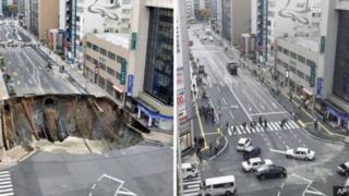 Antes y después de que se abriera un socavón de 30 metros de diámetro en una calle de Fukuoka, en el sudeste de Japón, el 8 de noviembre.