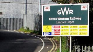 : Great Western Railway Landore Depot nameboard